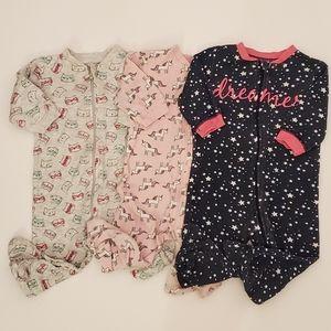 George 3 Long Sleeve Pajama Zip Onesies 3-6M